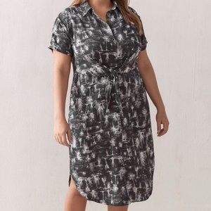Addition Elle brown-grey cactus-motif dress